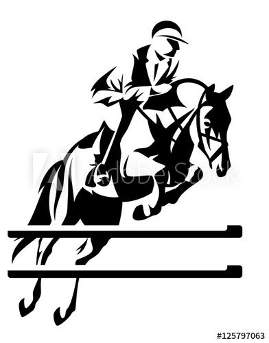Show Jumping Equestrian Sport Black And White Vector Design With