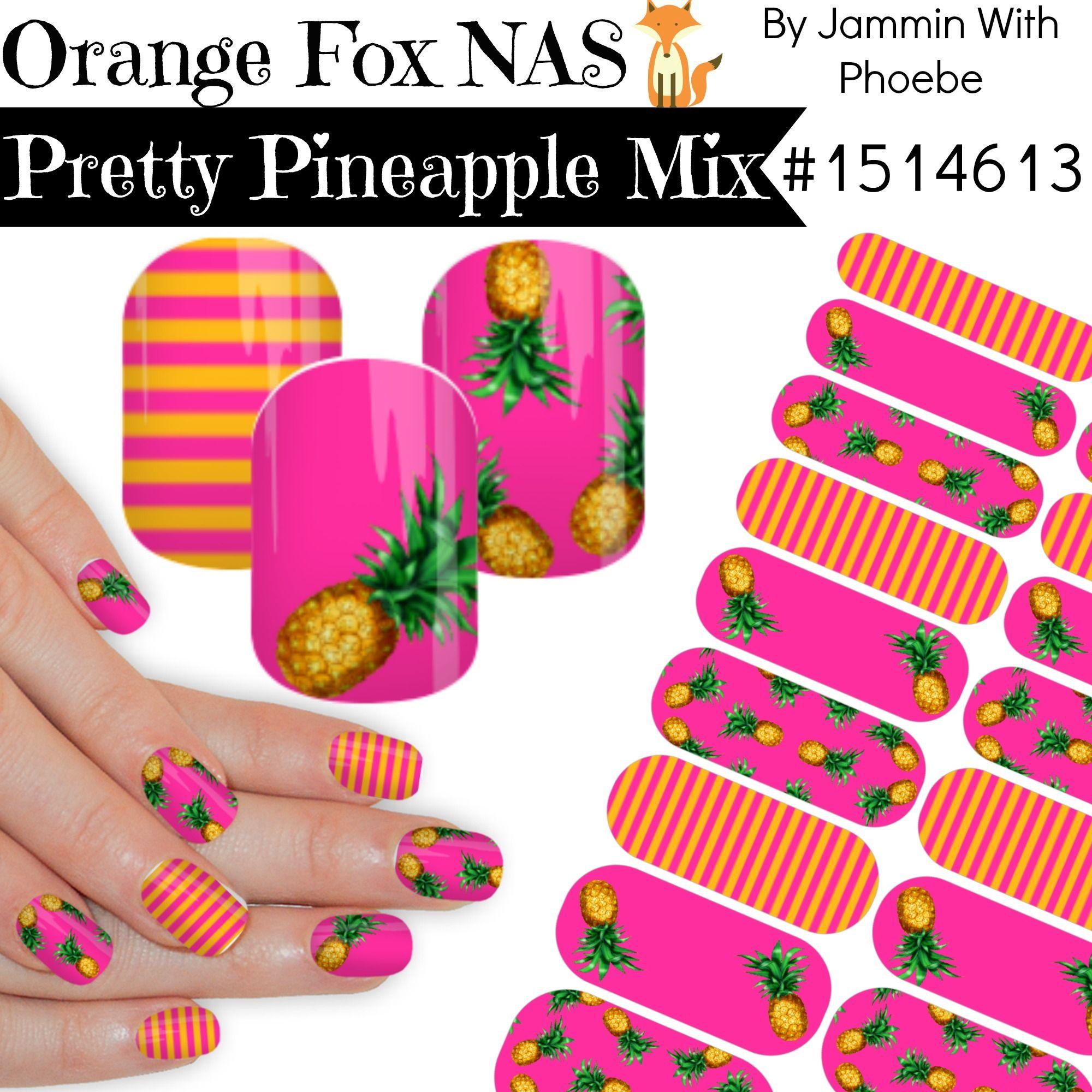 Pinapple Nail Wraps - Jamberry NAS Nail art Studio. Hot Pink and Pineapples #pineapple #nailart #jamberry