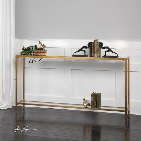 Superb Uttermost Hayley Gold Console Table Overstock Com Shopping Ocoug Best Dining Table And Chair Ideas Images Ocougorg