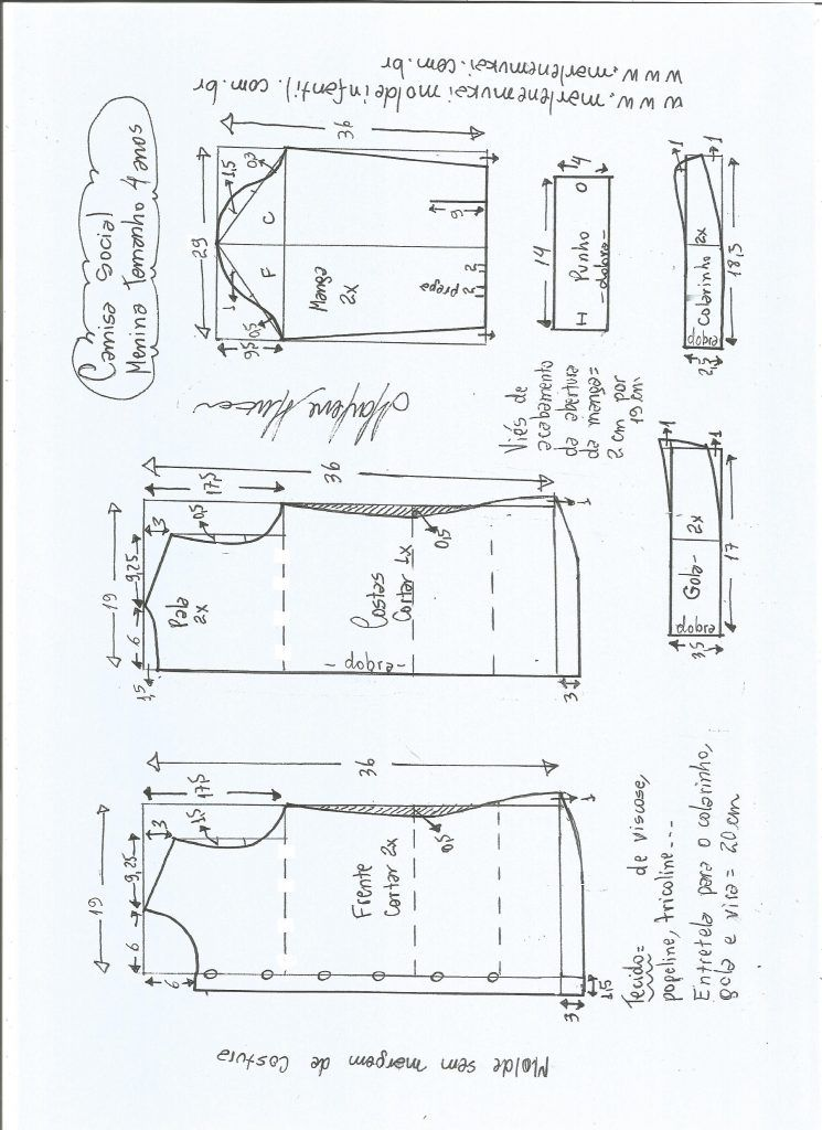 0f68607ca028c2 Camisa social para meninas - DIY- marlene mukai - molde infantil ...