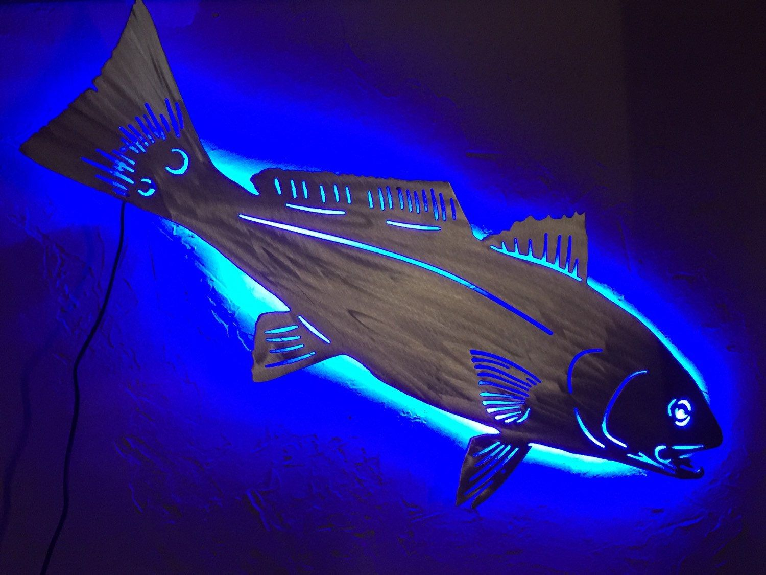 Gifts For Dad Redfish Metal Fish Art With Blue Led Backlight Game
