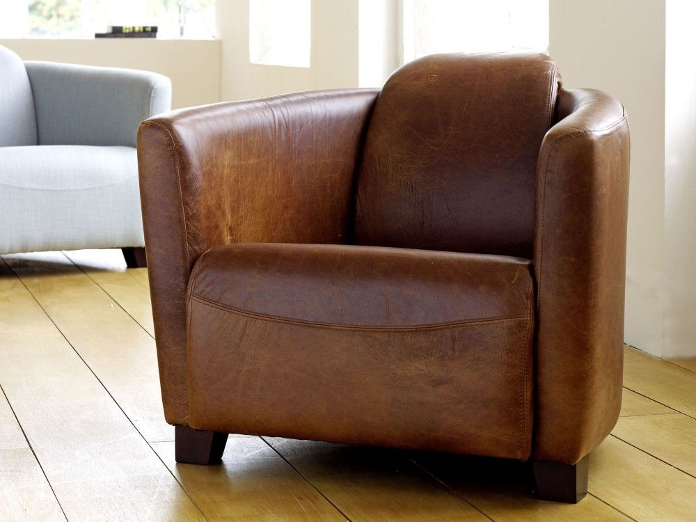 The Chesterfield Company Hudson Leather Tub Chair - Tub chairs leather