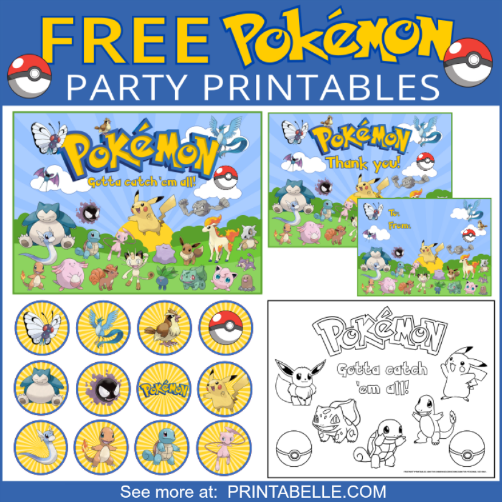 graphic about Printable Pokemon Party Games named Pokemon Bash Printable Preset Birthday Bash concept strategies inside of