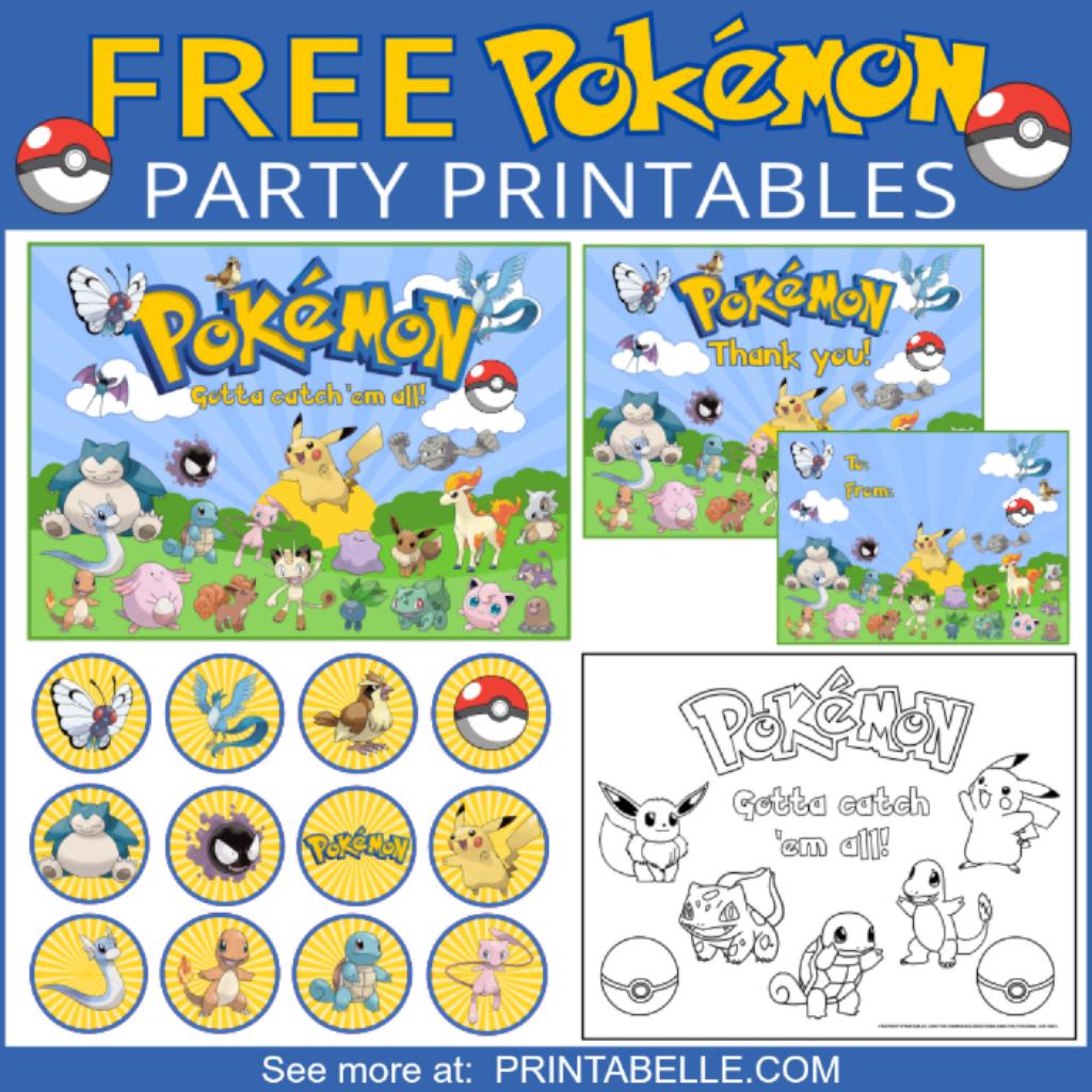Pokemon Party Printable Set In