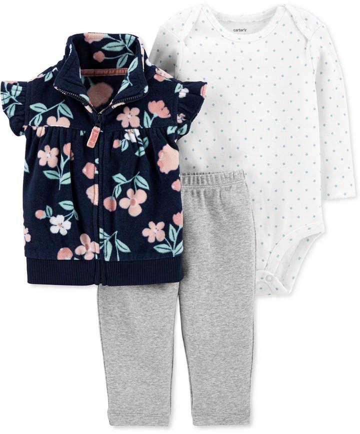 7ed7b96e1 Carter's Baby Girls 3-Pc. Fleece Vest, Bodysuit & Leggings Set ...