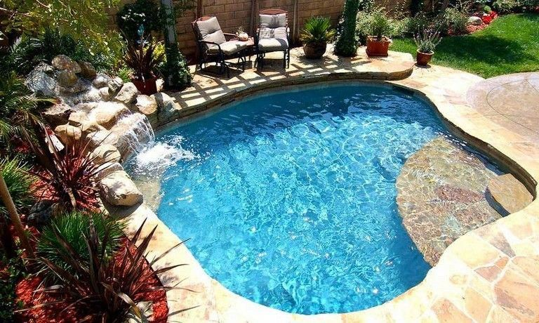 32 Awesome Small Swimming Pool Designs With Waterfall Backyard Pool Designs Small Backyard Pools Backyard Spa