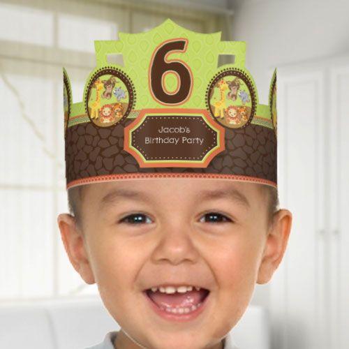 Funfari™ - Fun Safari Jungle - Birthday Party Personalized Hats $6.99