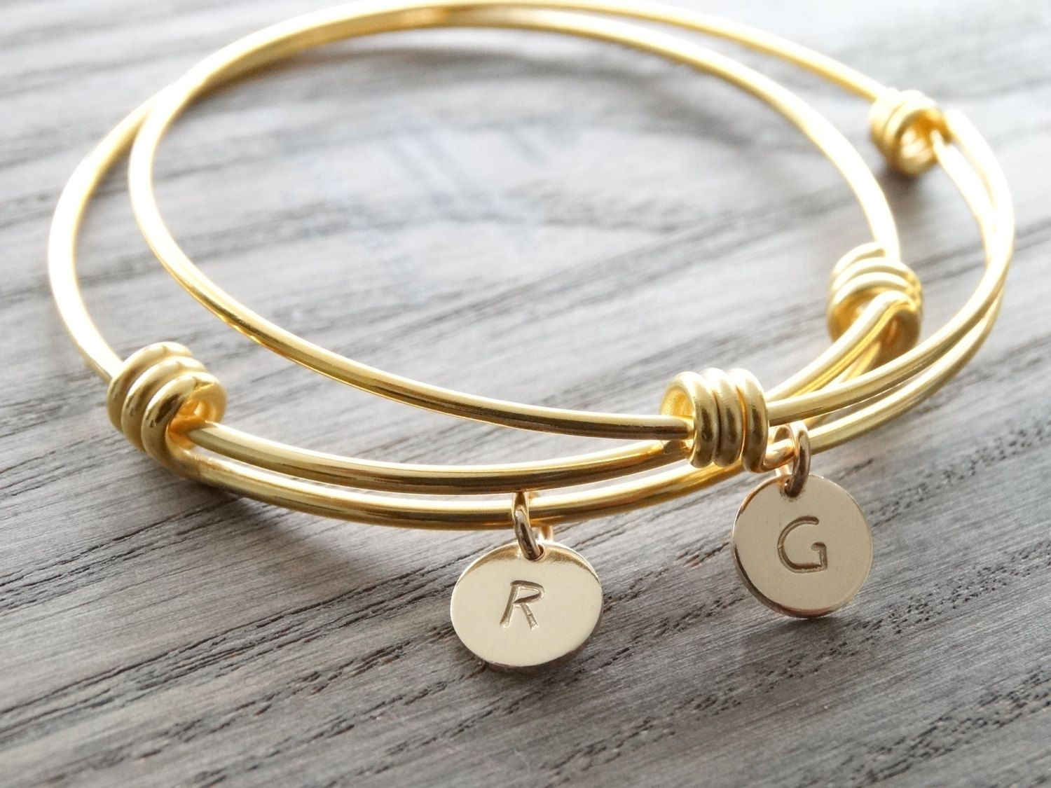 Set of initial bangle bracelets personalized initial bracelet