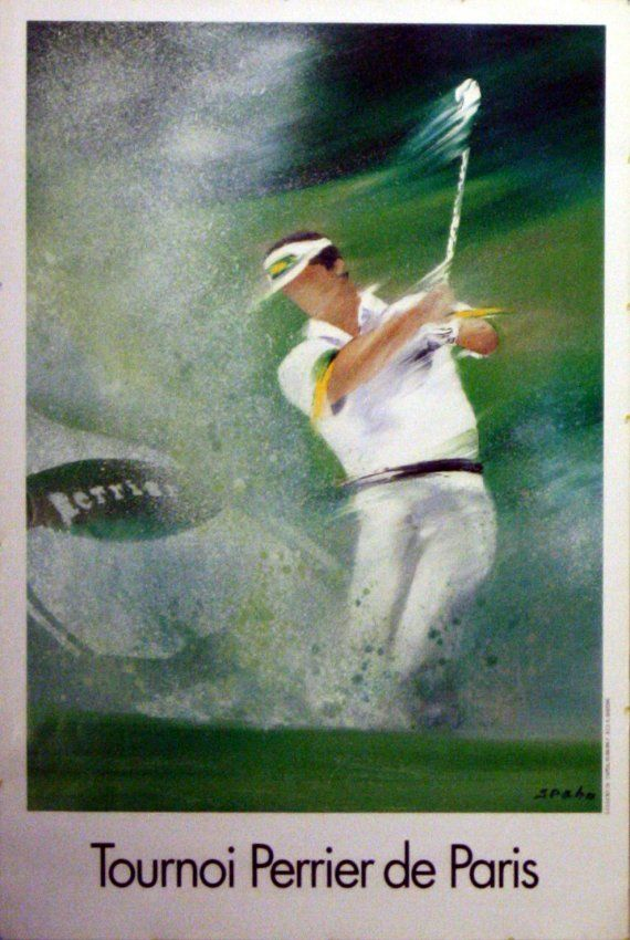 Star Lot Golf Perrier Start Bid 30 From Our Original Vintage Posters Auction Which Will Be Held On Saturday 15 Novem Affiche Vintage Art De Golf Affiche