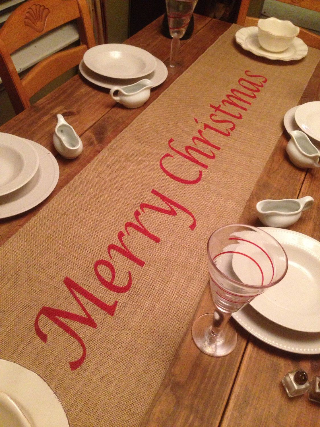 """Burlap Table Runner 12"""", 14"""", or 15"""" wide Christmas runner Merry Christmas - Christmas decorating Holiday decorating Home decor by CreativePlaces on Etsy"""