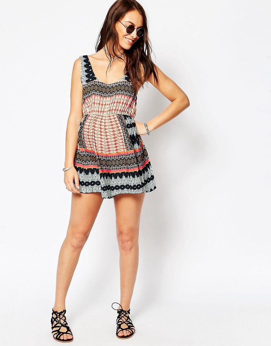 942ae4e5e8b Another option for covering up by the pool — a romper! We are loving this chic  tribal pattern by ASOS