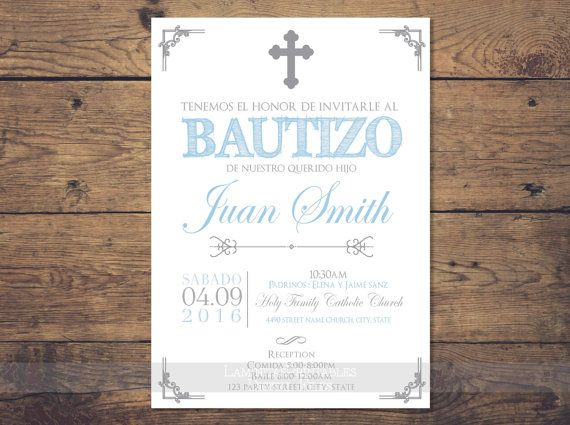 Silver Baptism Invitation Boy Spanish Baptism Invitation