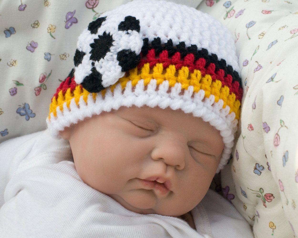 WORLD SOCCER HAT Crochet Baby Boy Soccer, Germany Flag Black Gold ...