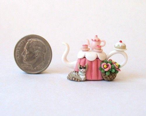 Miniature Sweet Tea Table Teapot with Tabby Cat OOAK C Rohal   eBay