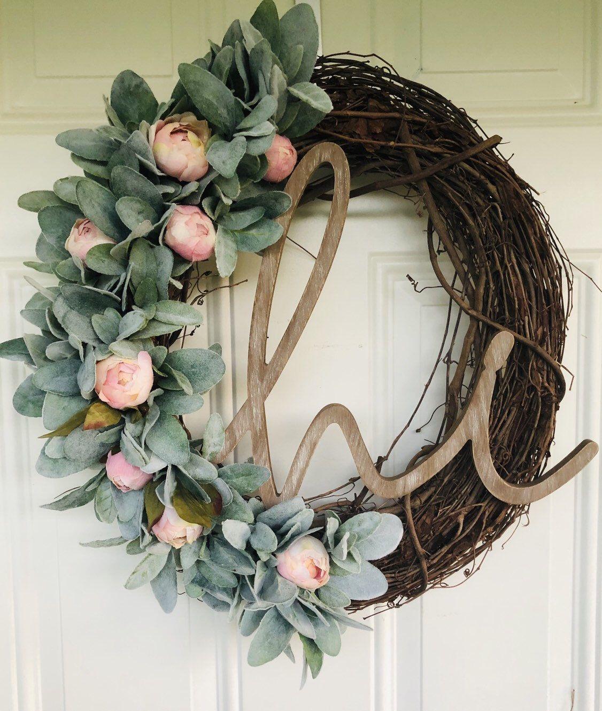 Photo of Lamb ear wreath, farmhouse, year-round wreath, wreath, lamb ear, farm wreath, spring wreath, summer wreath