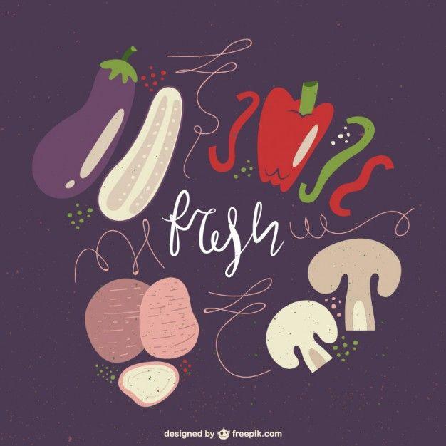 Ilustración de verduras frescas Vector Premium   cuadros   Pinterest ...