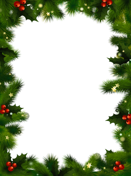 Christmas Clipart Transparent Background.Transparent Christmas Photo Frame With Pine And Mistletoe