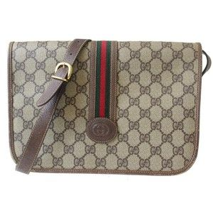 37ab5666737 Gucci Excellent Vintage Rare Rare Style Messenger Cross Body Red Green  Stripe brown leather