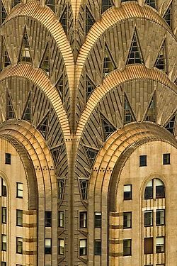 USA | Chrysler Building, New York City, designed by architect William Van Alen.  Begun in 1928, it is Art Deco in a nutshell.   In 2007, it was ranked ninth on the list of America's Favorite Architecture by the American Institute of Architects.