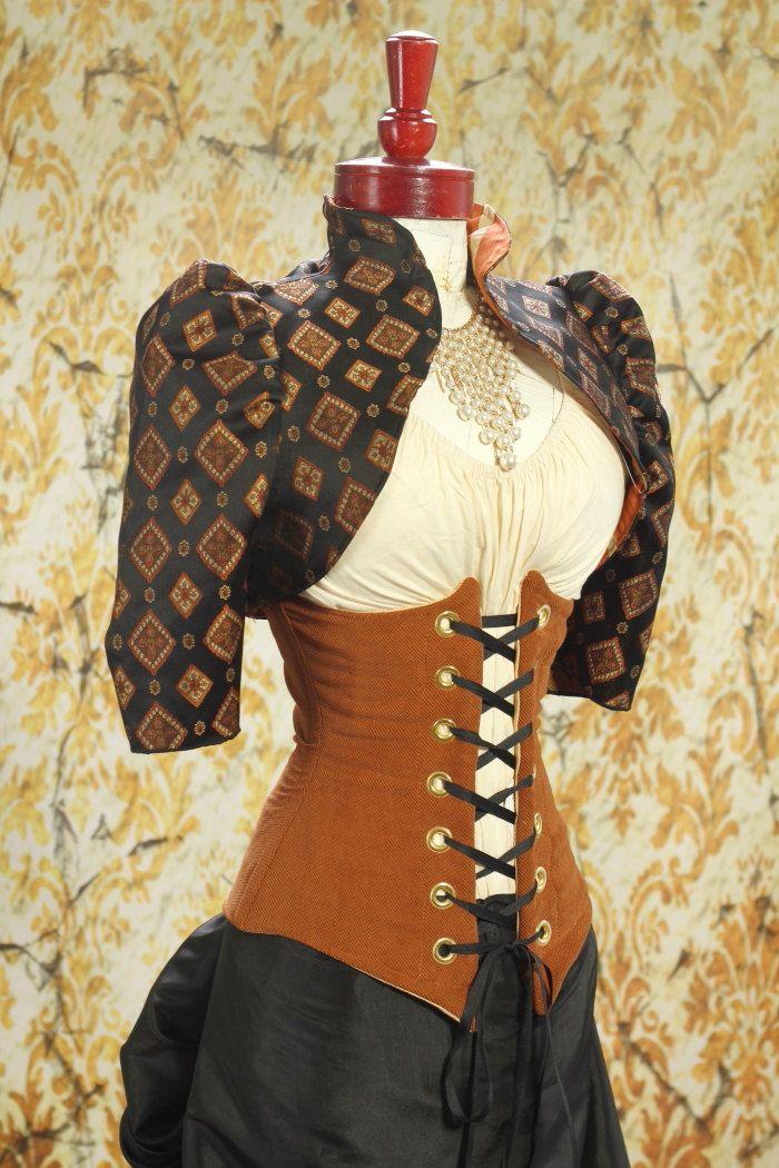 Size M Black with Copper Diamond Cropped Jacket. $65.00, via Etsy.