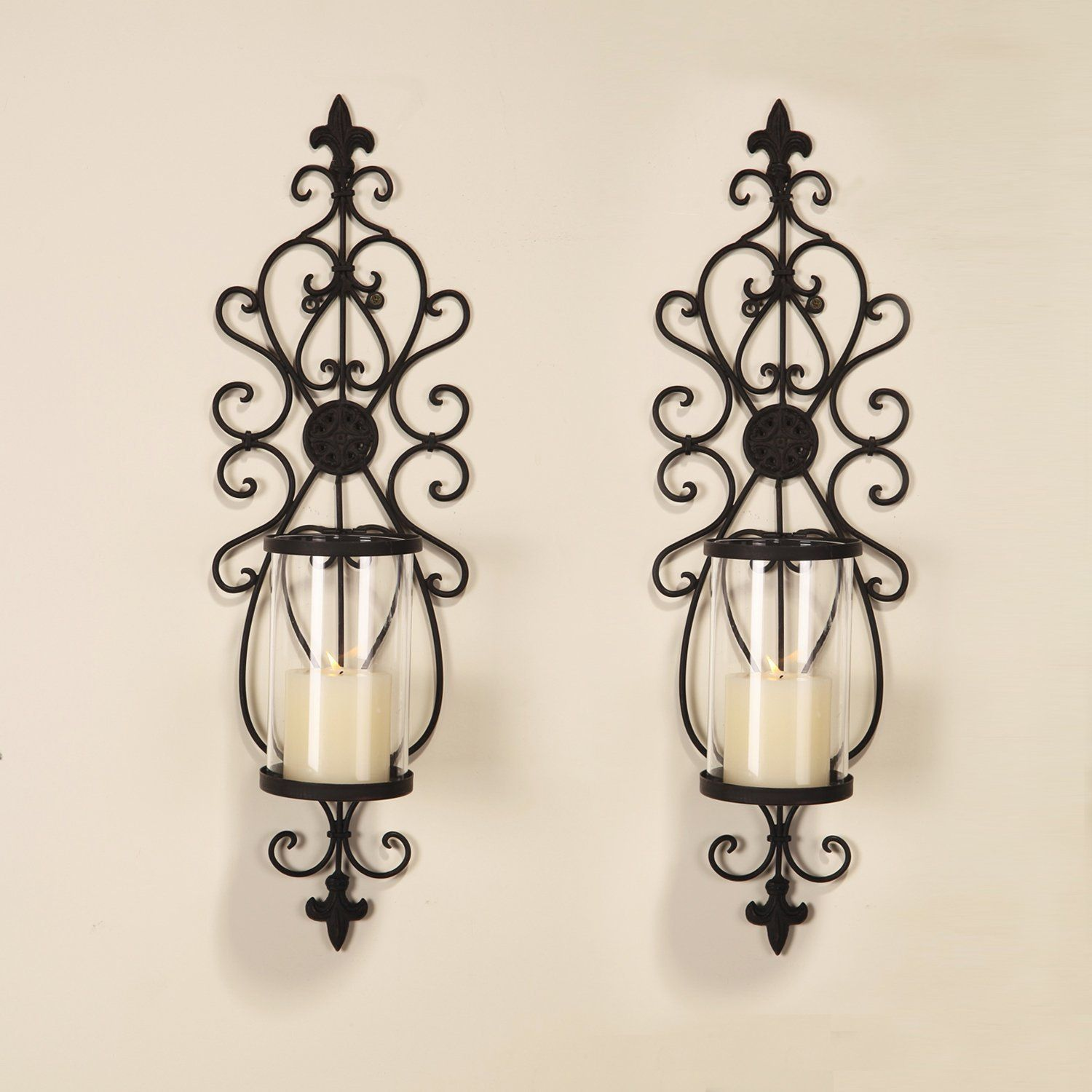 Tall Iron Wall Sconce   Candle wall sconces, Candle holder ... on Black Wrought Iron Wall Candle Holders id=40632