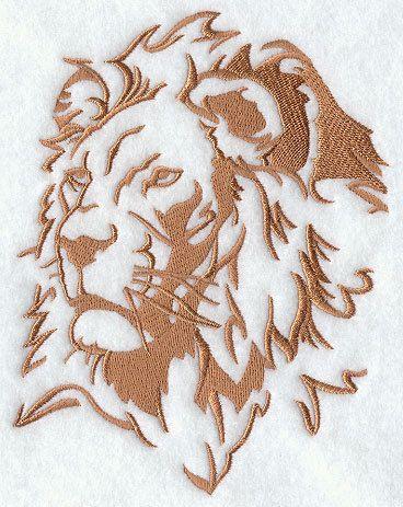 Safari Silhouette Lion Embroidered Flour Sack Hand/Dish ...