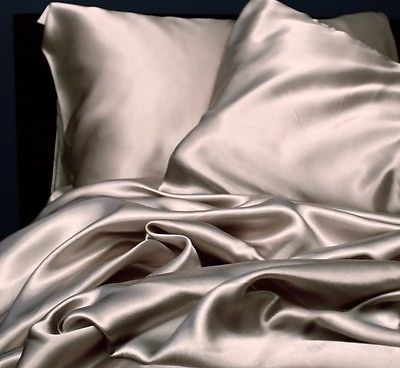 New Soft Silk Y Satin Lingerie Bed Sheet Set Full Size Silver Grey
