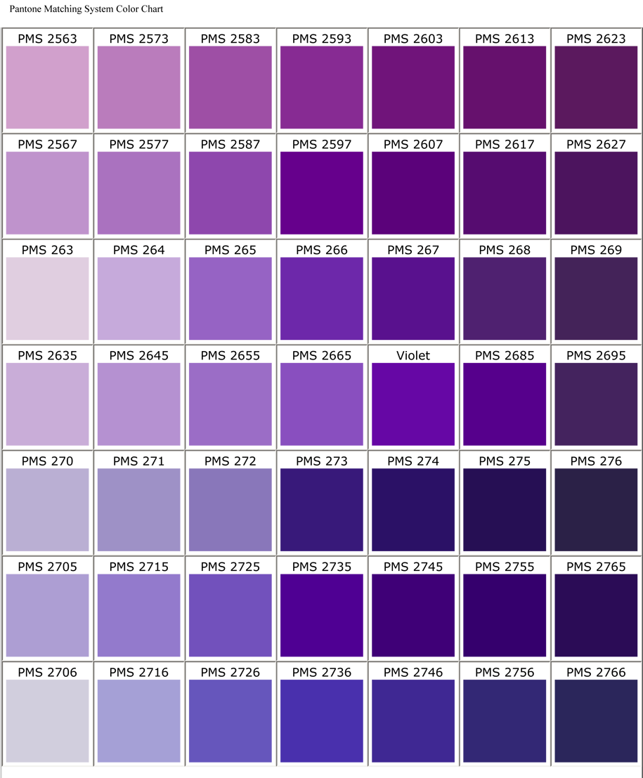 Purple Color Chart  Color Chart  Red Horse The Best Cloth