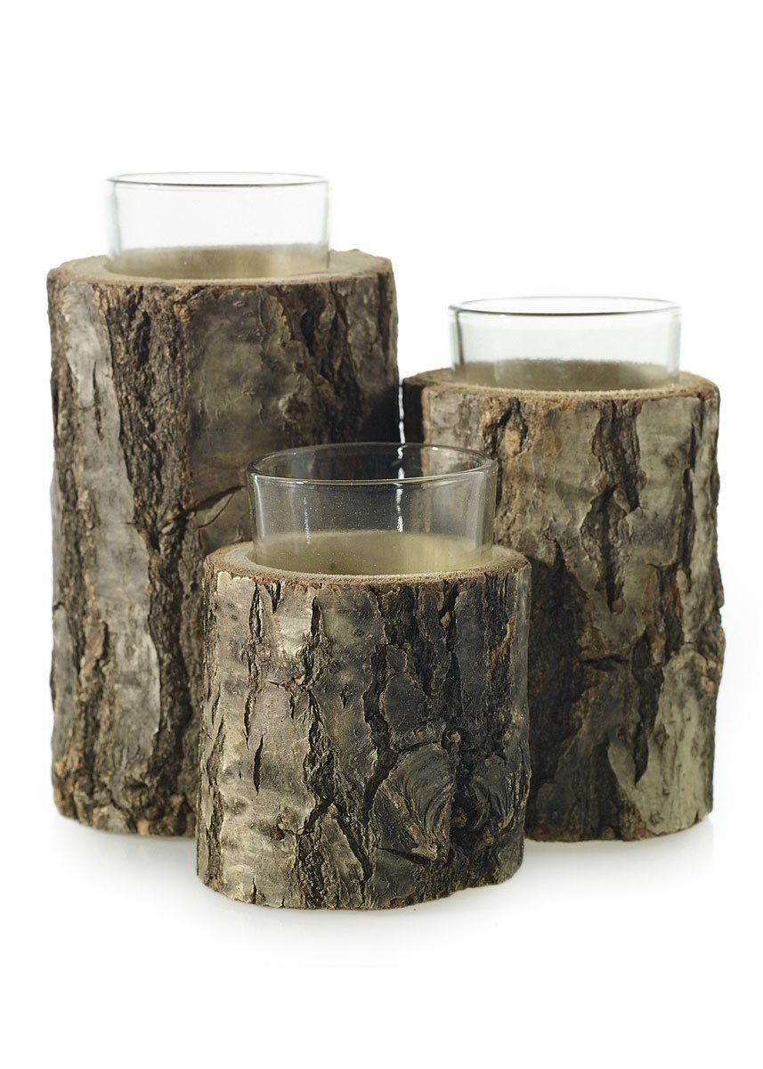 Natural oak wood tiered candle holder with glass tealight