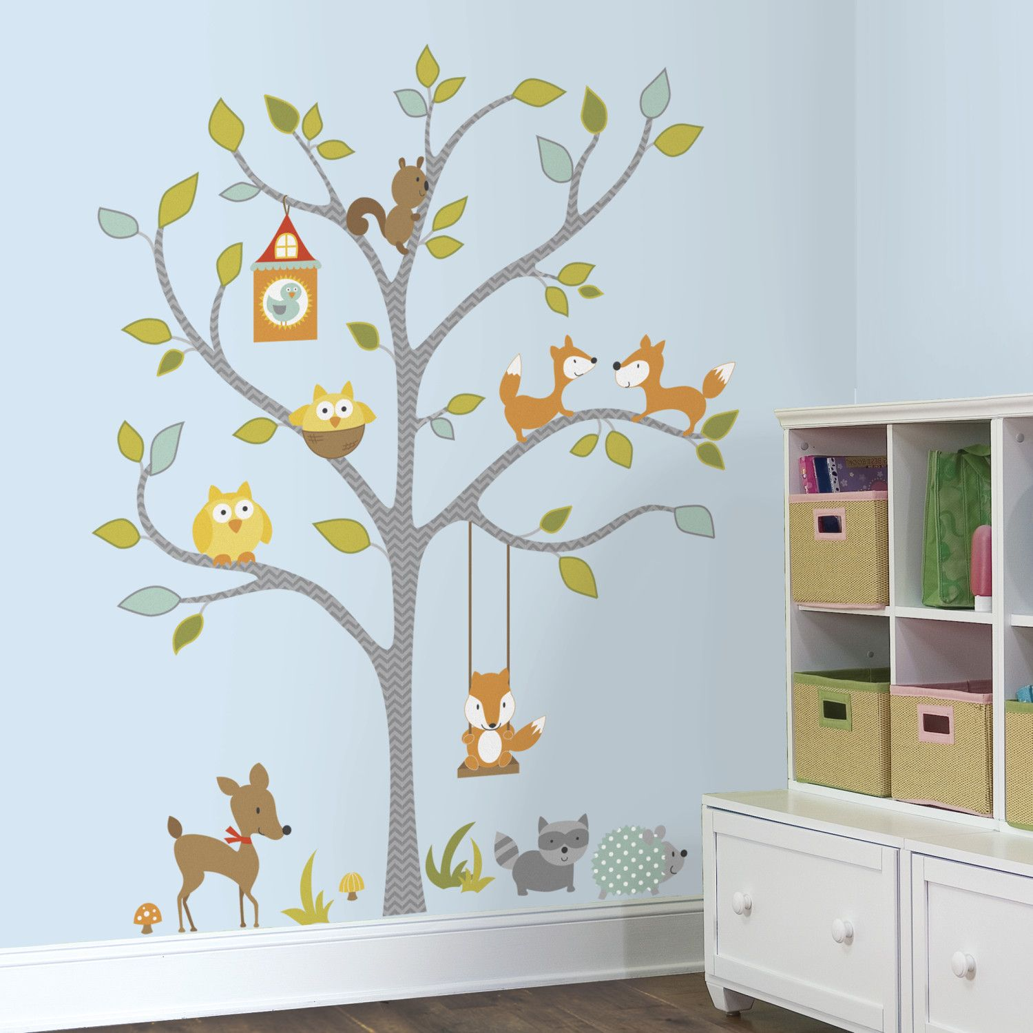 Room Mates Woodland Fox And Friends Tree Wall Decal Church - Wall decals for church nursery