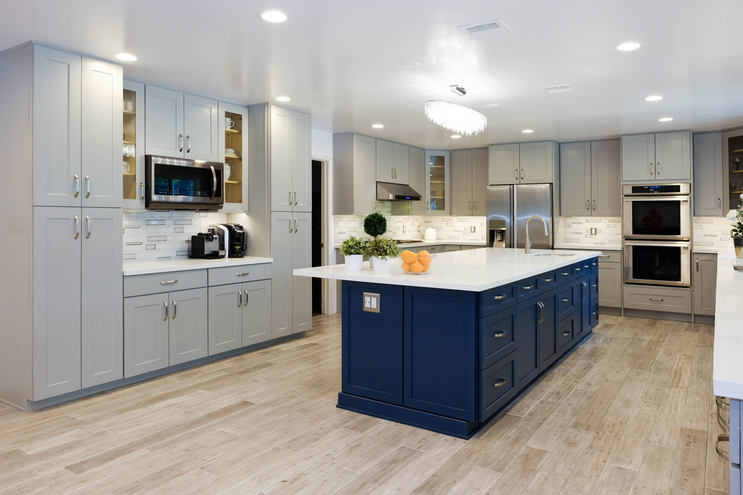 Large Expansive Kitchen With Grey Shaker Cabinets In Chatsworth Ca Custom Blue Island Was Ad Kitchen Inspirations Kitchen Design Contemporary Kitchen Design