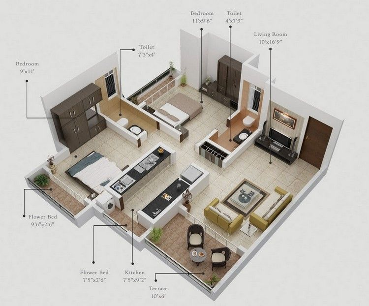 20 Awesome 3d Apartment Plans With Two Bedrooms Part 2 Open Floor House Plans Floor Plan Design Apartment Floor Plans