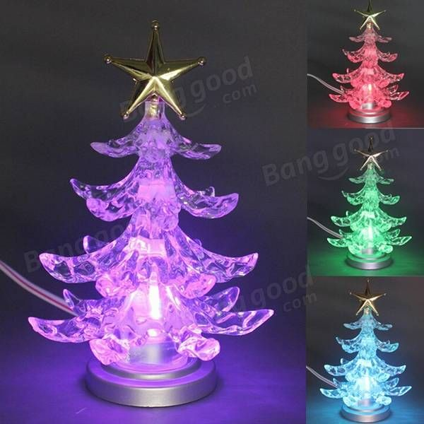 christmas tree shape color changing usb led night light lamp christmas xmas tree desk decoration