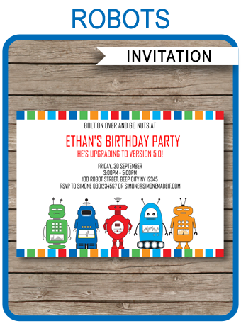 robot party invitations template in 2018 robot birthday party