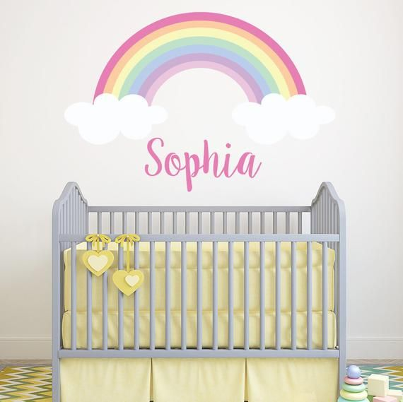 Personalized Name Wall Decal Rainbow Art S