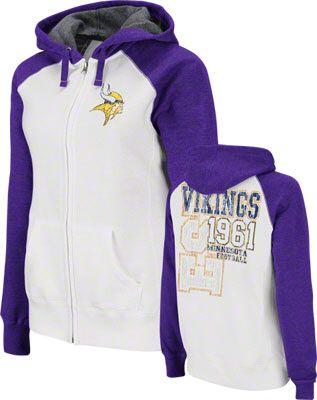 d6acadbef77 Minnesota Vikings Women's Sport Princess White Raglan Full-Zip Hooded  Sweatshirt