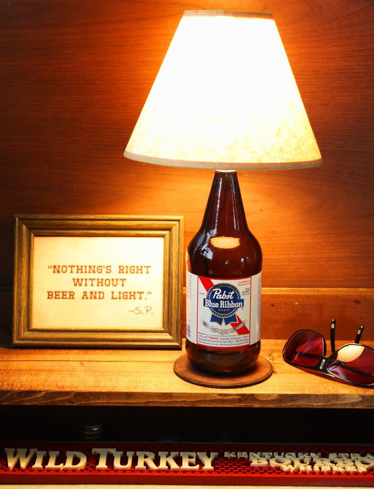 Pabst Blue Ribbon PBR Bottle Lamp Beer Light Free U.S. Shipping