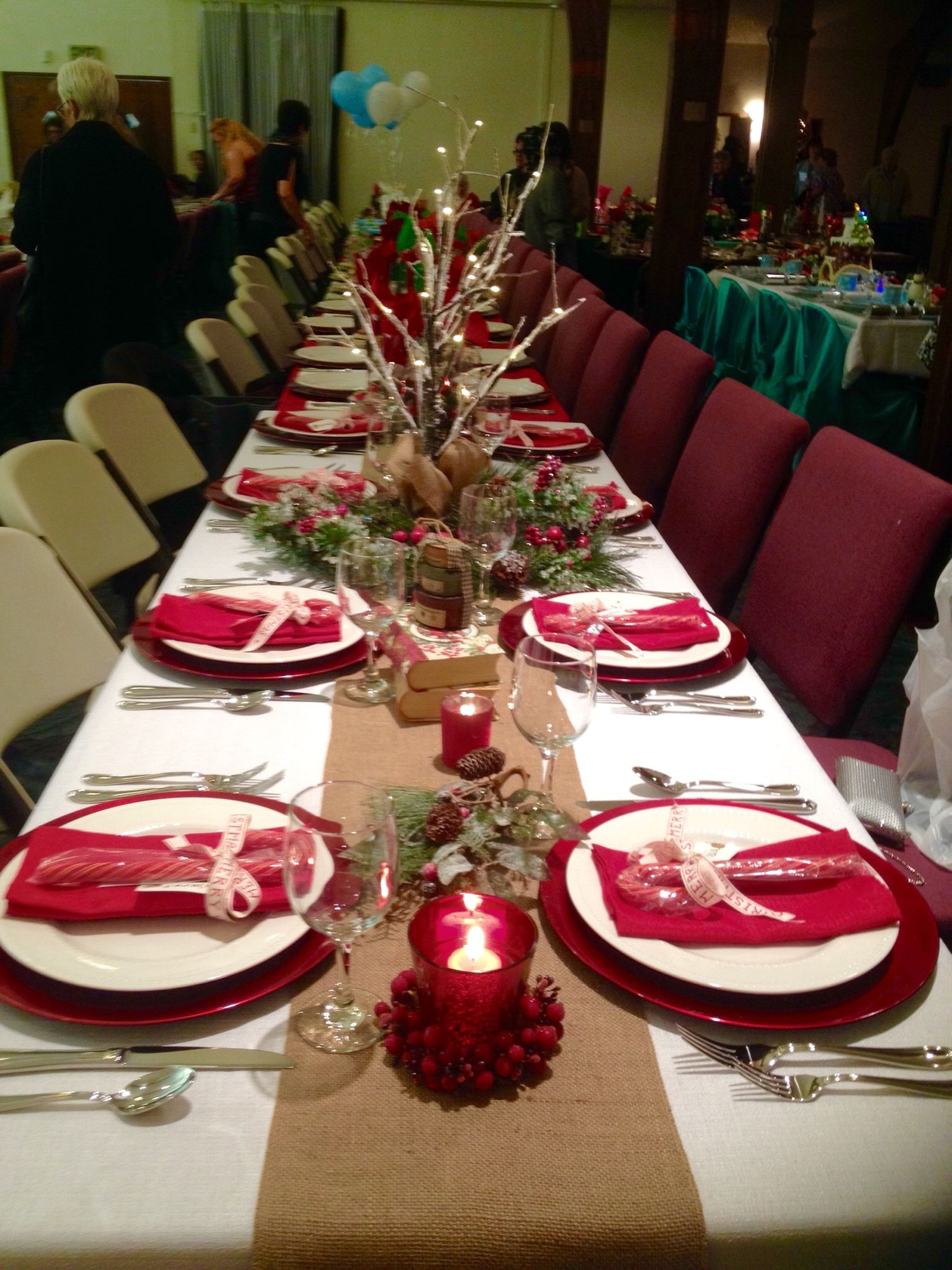 christmas banquet table decorations christmas pinterest christmas christmas decorations. Black Bedroom Furniture Sets. Home Design Ideas