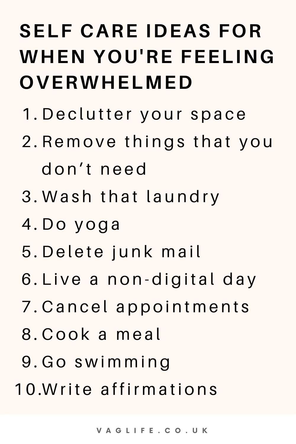 Self Care Ideas For When You're Feeling Overwhelmed