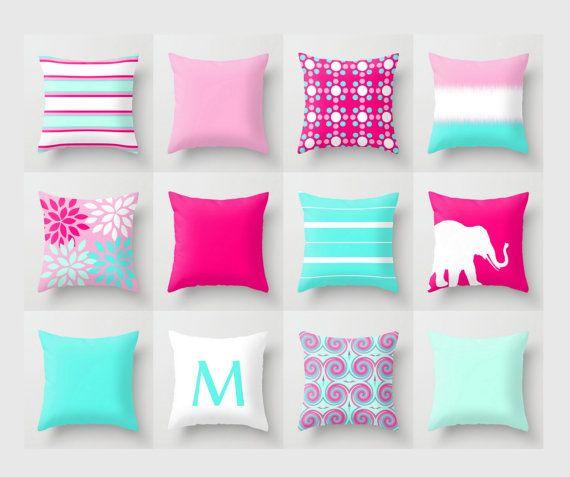 throw pillow aquahot pink white light