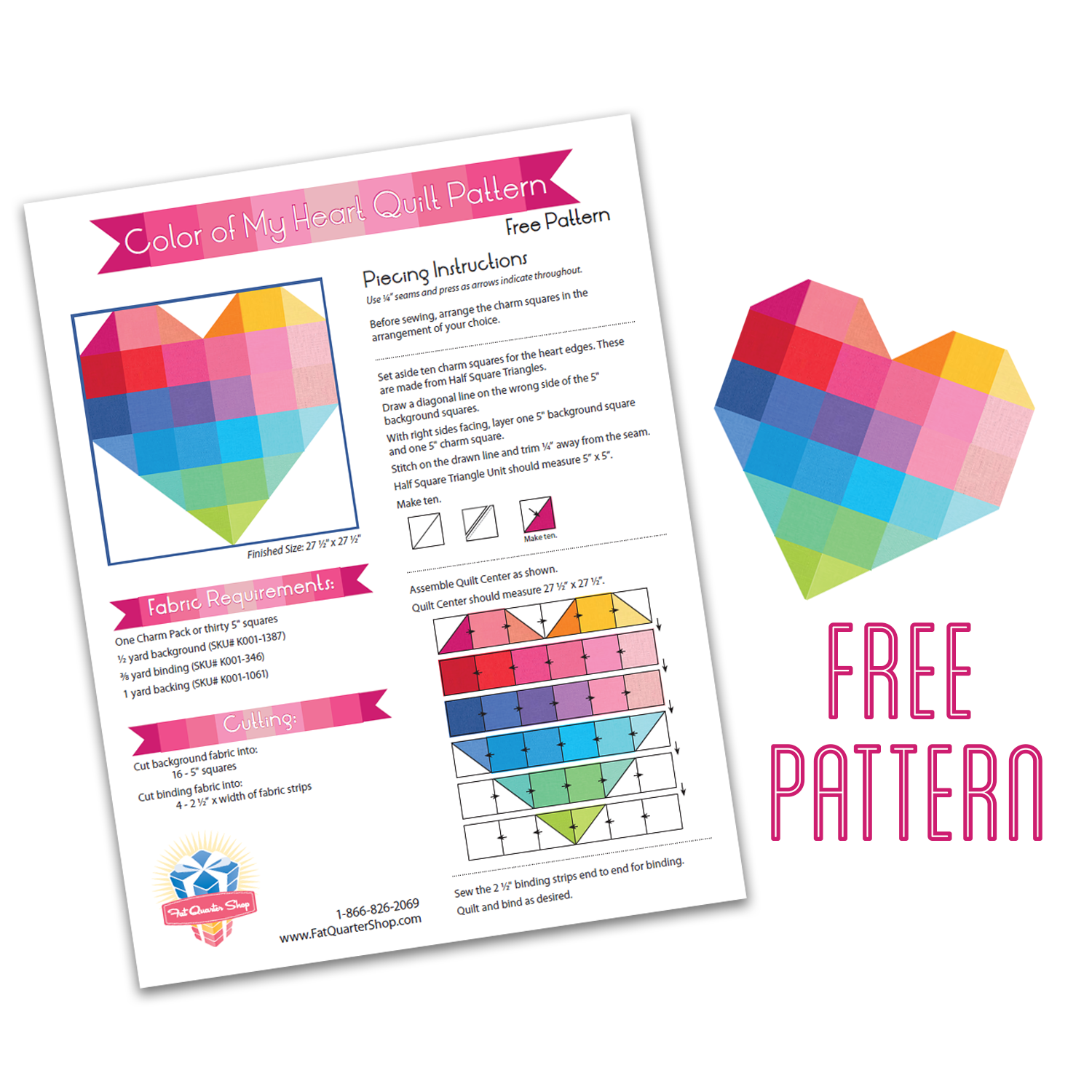 National Sewing & Quilting Month with Fat Quarter Shop | Fat ... : heart quilt block pattern free - Adamdwight.com