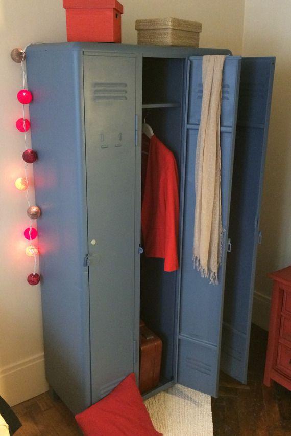 Authentique vestiaire industriel 3 portes - métalique bleu gris ... dfbe3cb42677