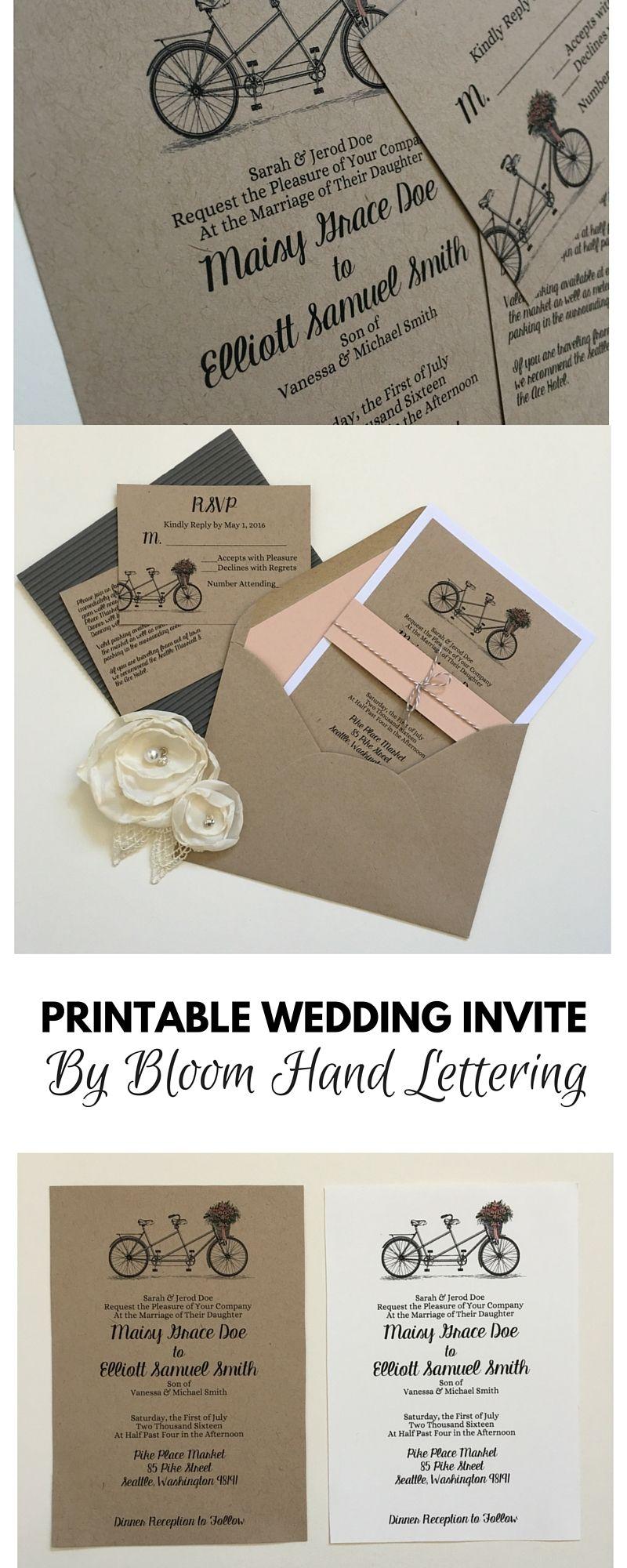 Inexpensive Wedding Invitation, Rustic Template Download, Printable ...