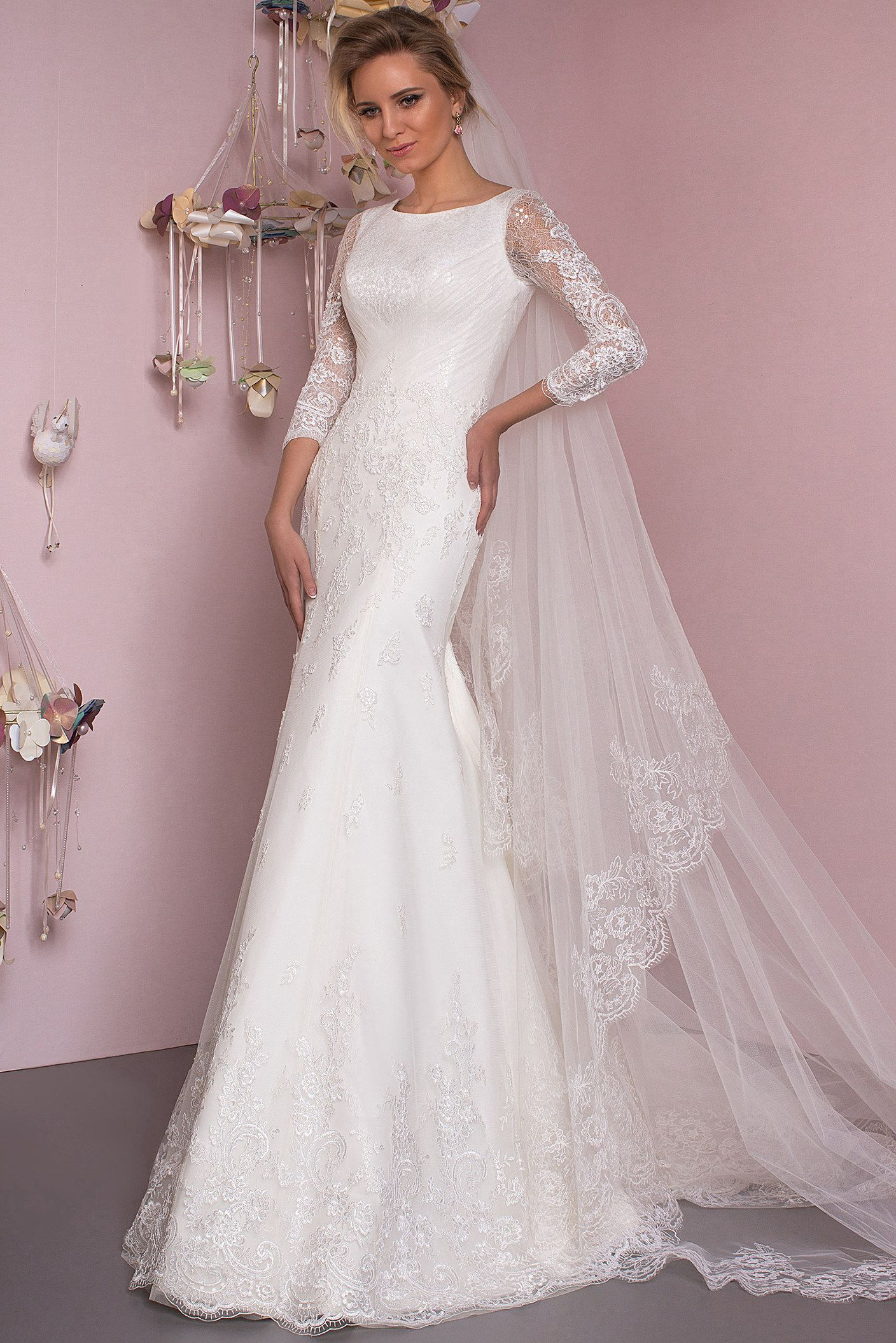 Lace Mermaid Bridal Gown With 3 4 Sleeves Wedding Dresses Affordable Wedding Dresses Bridal Gowns Mermaid [ 2110 x 1408 Pixel ]