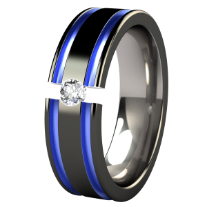 abyss black and colored tension set titanium wedding ring customized with colored anozided blue accents