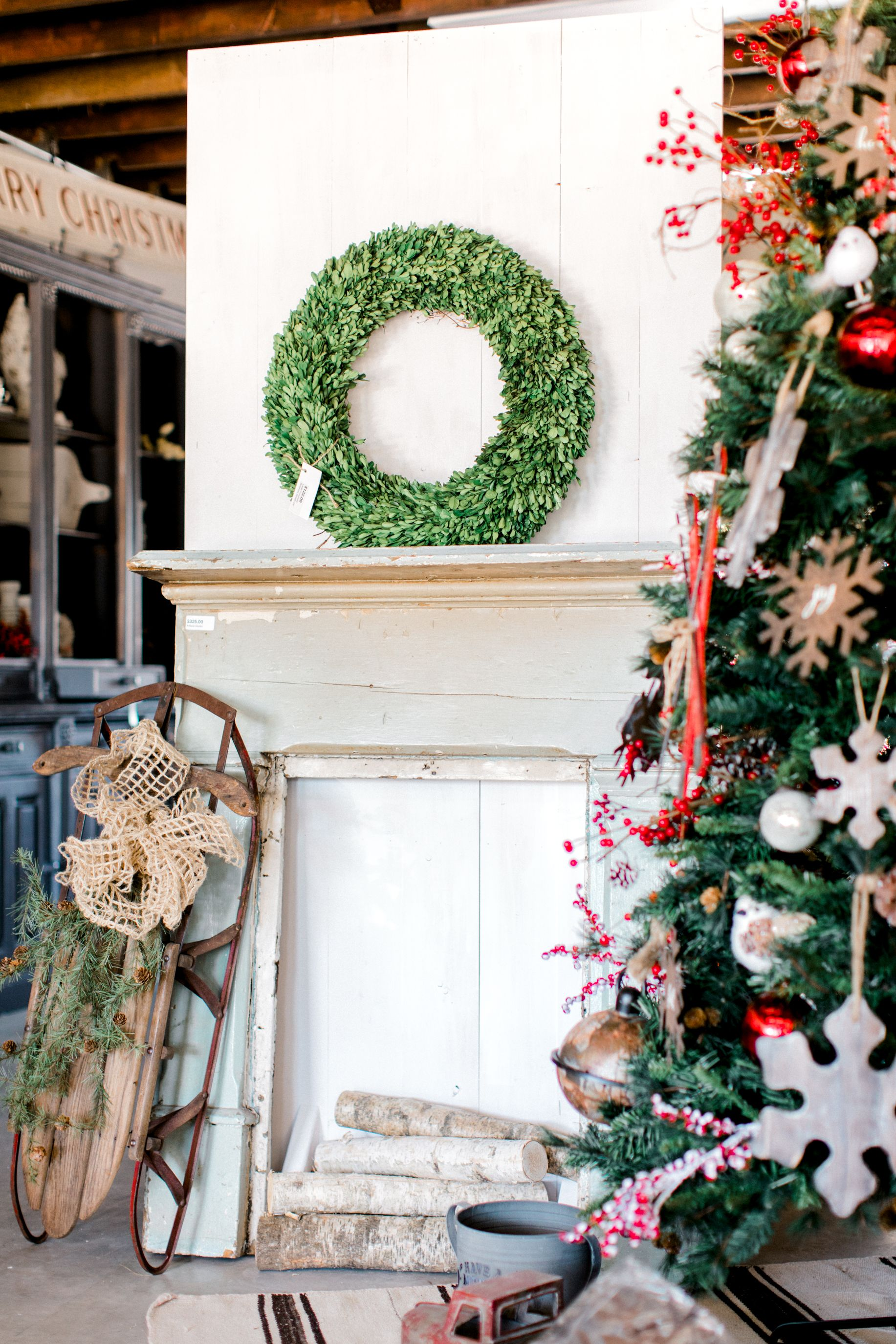 Christmas is here Farmhouse Christmas Birchwood Boxwood