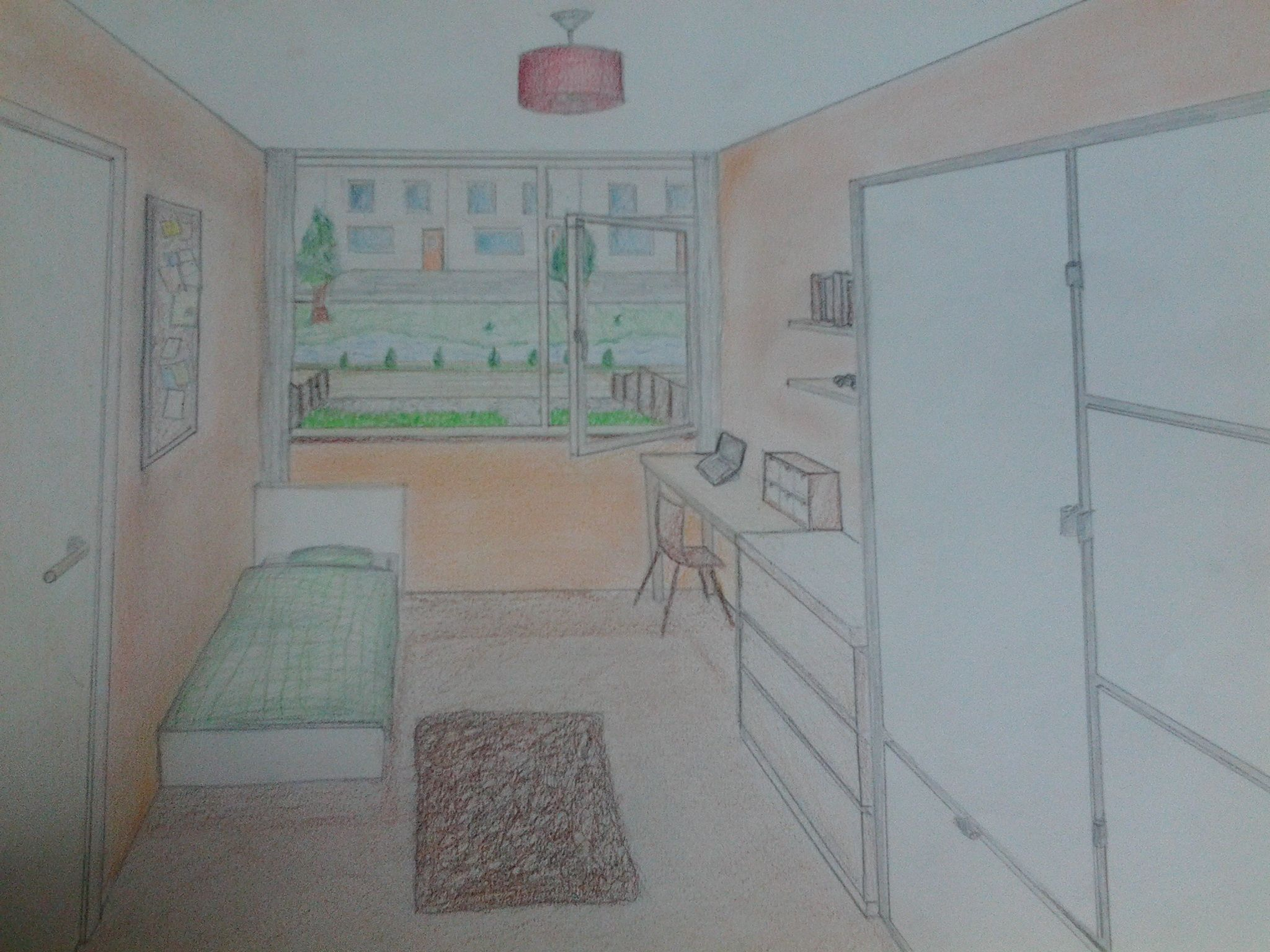 Tekening Slaapkamer ~ Kamer in perspectief tekeningen art lessons