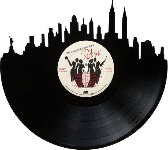 New York City Skyline Silhouette Vinyl Record By