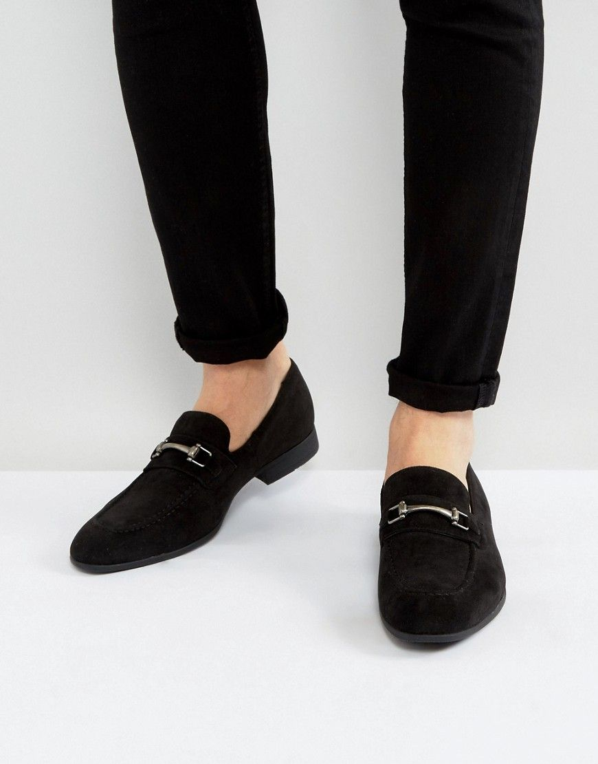 e25c61b5757 DESIGN vegan friendly loafers in black faux suede with snaffle ...