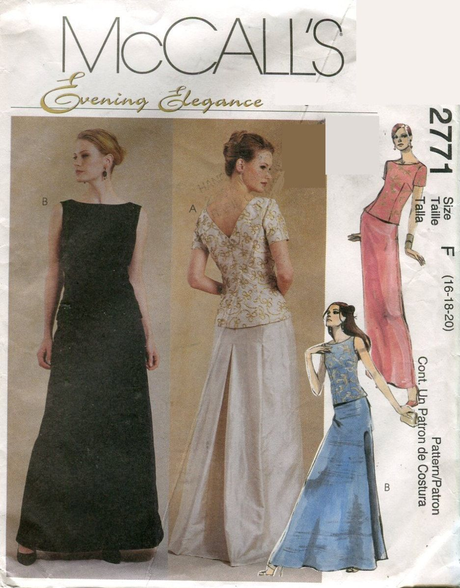 Mccalls 2771 two piece formal dress oop sewing pattern size 16 18 mccalls 2771 two piece formal dress oop sewing pattern size 16 18 20 bust 38 40 jeuxipadfo Image collections
